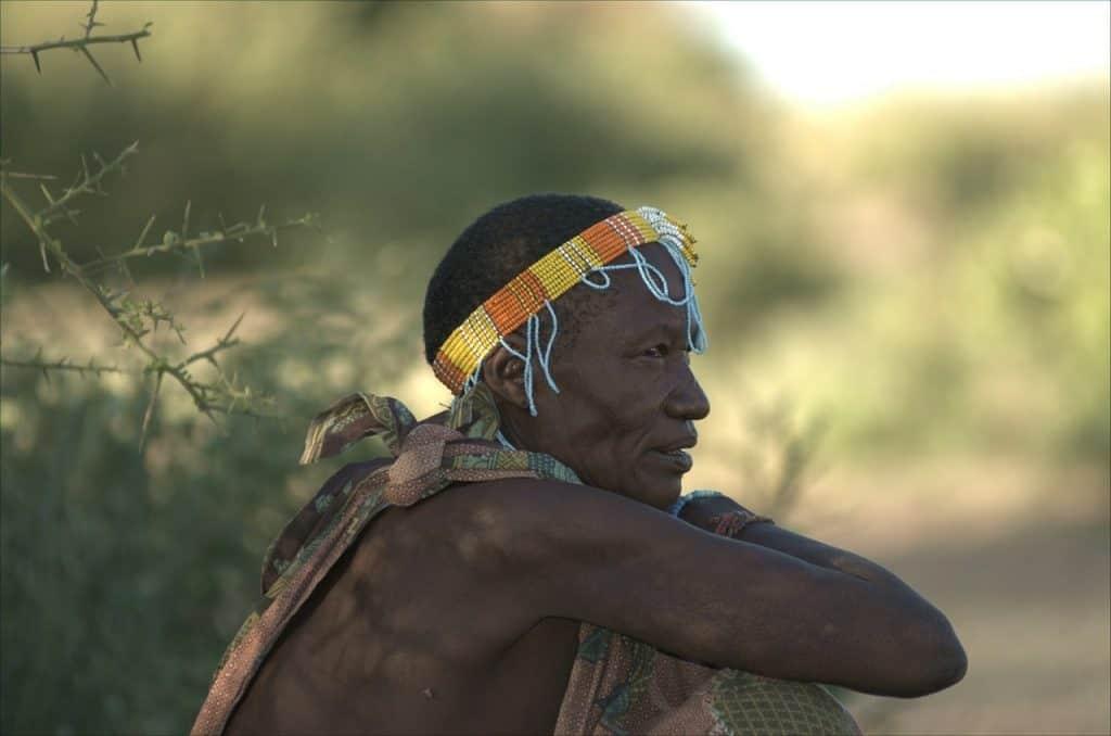hadza tribe kneeling