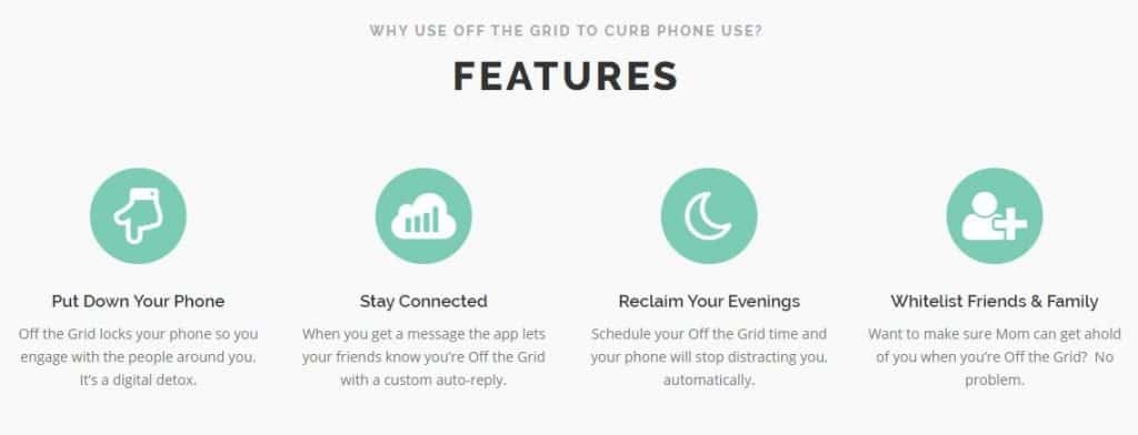 off the grid app features